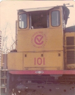 Shot of CHV logo on side of CHV 101.  This was later changed to CHV block letter reporting marks in the 1980s to its end of operations