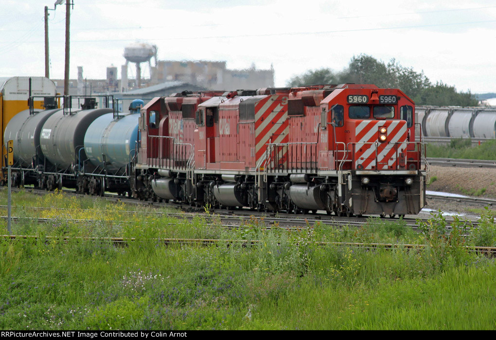 CP 5960, 9004 and 6003 arive in CN's Clover Bar Yard with a transfer load.