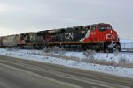 CN 2268 and 5736 head east at Clover bar with train 114