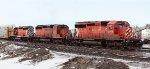 CP 6029, 6076 & 5876 switch     their train into CNs' Clover Bar Yard