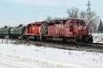 CP 5841 and 5973 bring a transfer to CN's Clover Bar Yard