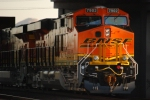 BNSF 7902 rolls under the I-10 overcrossing as she pushes her Brand New Sister BNSF 7900 West as rear DPU