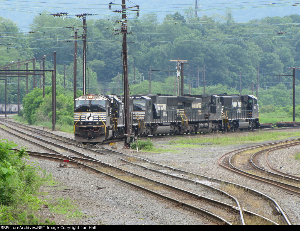 A light power move comes out of the yard with the first SD60E trailing
