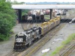 An Enola Yard trim job shoves into the yard as another job and road power sit nearby