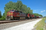 ATSF 631, GE C44-9W, an unpatched Warbonnet leads a CP EVO westbound on the Creston Sub