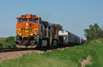 BNSF 4980 and 741, GE C44-9W, are westbound