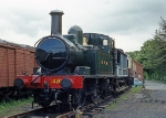 GWR 1400 Class 0-4-2T 1420 at Staverton Station on the Dart Valley Railway
