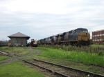 CSX 5470 has 5 units in tow as it pauses by the old North East freight station