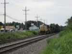UP 3803 leads a stopped NS coal train