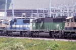Coal train with colorful consist