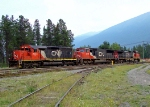 CN 6019, 5738 and 2660 run light into the west end of the yard.