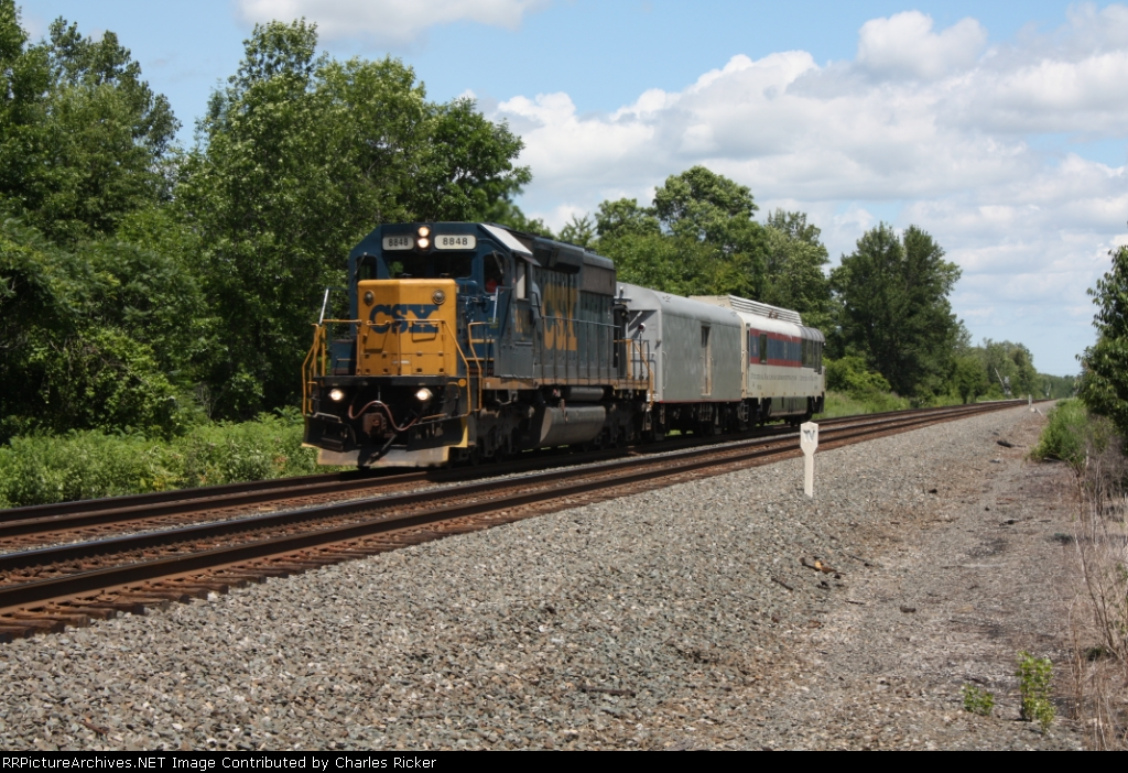 CSX 8848 Leads FRA Inspection Car 220 at South Byron NY