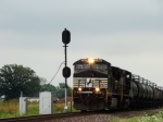 WB NS 9168 knocking down the home signal at KN