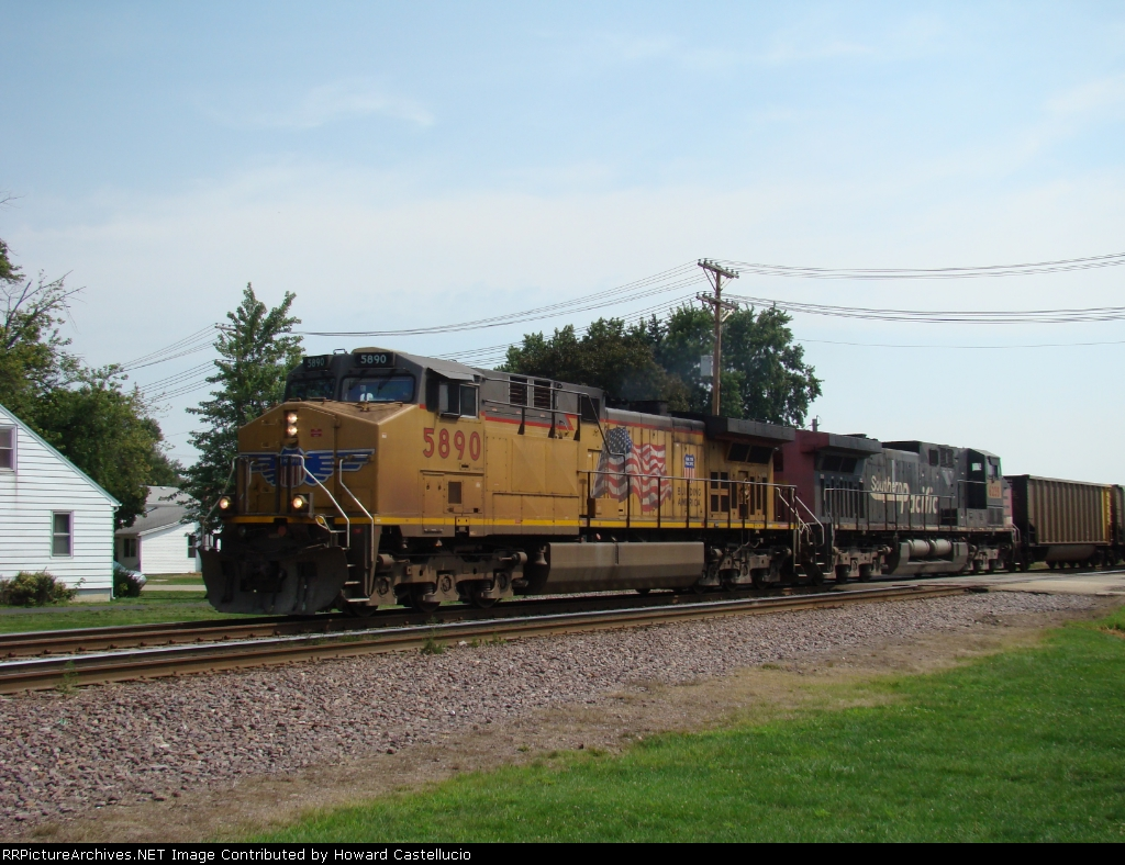 WB mty coal drag with UP 5890 on the point.