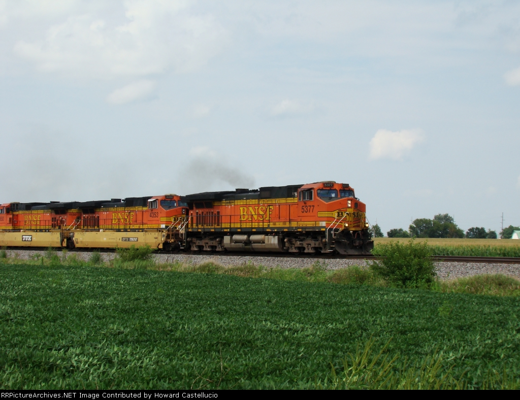 EB Baretable with BN 5377 throttling up to track speed through Stewert Ill.