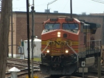 BNSF 5377 leads  baretables at Rochelle