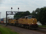 UP 7190 and UP 7378 lead a intermodal with a wave from the enginer