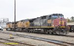 UP 6303 (AC44CW ex SP 222) and two UP AC4400,s at Bakersfield CA. 11/18/2011