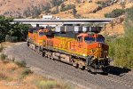 A four unit lash up of BNSF GE's (3 Dash-9s and a ES44DC Gevo) are in run 8 at Woodford in the heart of the Tehachapi Pass.