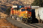 BNSF 4979. Four big BNSF GE's (3 C44-9W's and a ES44C4) drag a heavy stack train around the famous Tehachapi Loop in the late afternoon