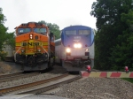 BNSF C44-9W 5107 & AMTK P42DC 1