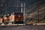 BNSF 7863 decends on Main 2 after negotiating Sullivans Curve towards San Bernardino, Ca.