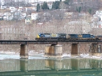 Westbound Coal crossing the Tygart River at Grafton, W.Va.