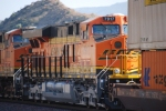 BNSF 7917 and BNSF 7308 head west as the #3 and #2 units on this Z-Train decending Cajon Pass.