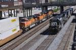 CSX train Q184 heads north and NS train 219 heads south