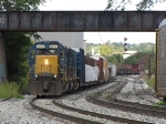 CSX 8035 leads Q327-09 under the old interurban bridge