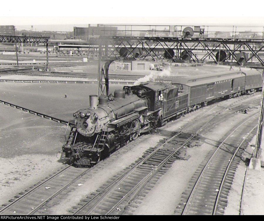 Burlington steam leaves Union Station headed north