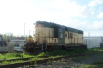 Morning light bathes the former CNW geep at Livonia on another trip to the area.