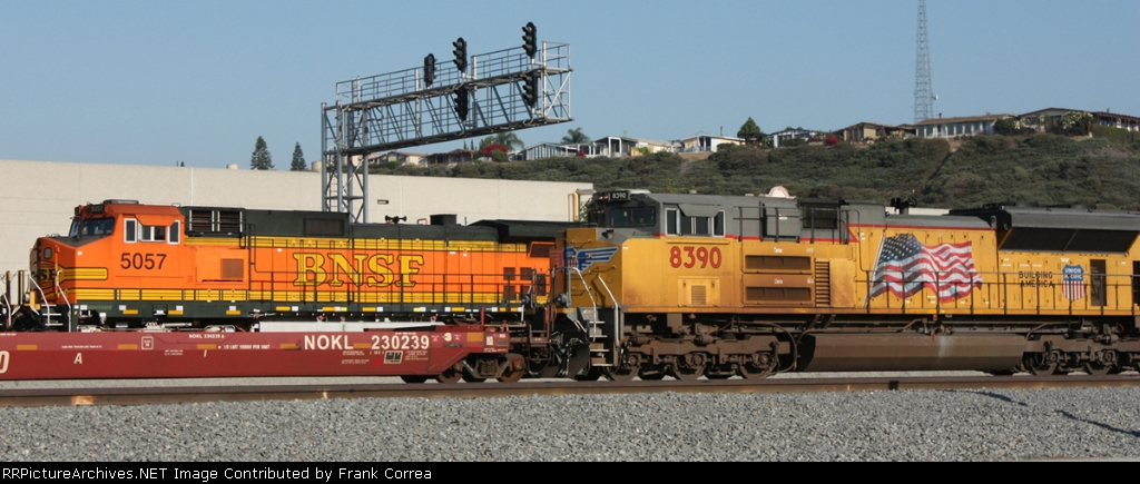 BNSF 5057 and UP 8390