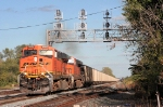 BNSF power leadfs N849 into town at Columbus Ave as it heads west