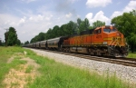 BNSF 4075 as Pusher on KCS All Black Hopper Train