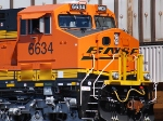 BNSF 6634 right side engineer cab shot as they wait to roll eastbound with a Z-Train.