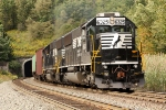 NS 6325 shoves hard on the back of 134 car manifest into Allegheny tunnel