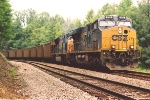 Loaded coal train heads for loops