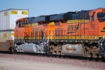 BNSF 7915 # 4 unit on a JB Hunt Z-Train rolls eastbound into the BNSF Barstow yard for a crew change.