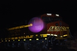 BNSF 7893 lights up the night with her reflective Swoosh Logo and LED Road Number Lights as she waits to roll east as a rear DPU unit.  (The Purple Circle is off the camera's light sensor)