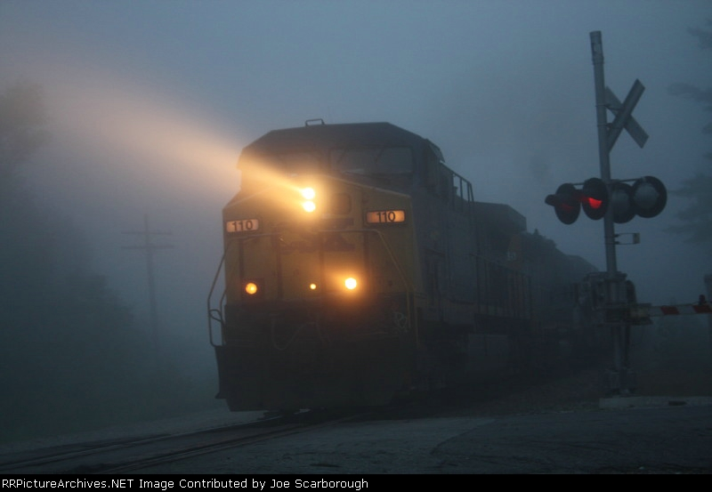 Southbound CSX 110 penetrates the fog