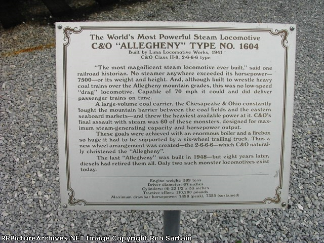 C&O 1604 plaque