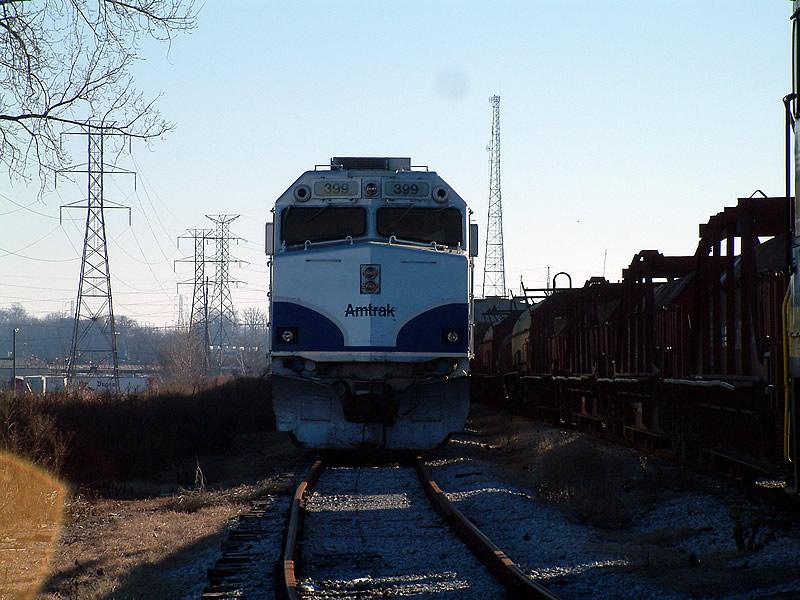 Black lined Amtrak unit