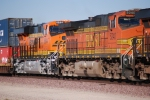 BNSF 5240 # 2 unit with a Brand New ES44c4 behind her BNSF 6644.