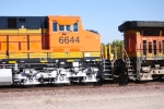 Close up of the cab of BNSF 6644 as she rolls east.