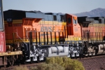 BNSF 6644 zoom in shot as she heads into the BNSF Barstow yard pulling the Z LAC-LPC 26 as the # 3 unit.
