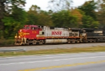 BNSF 775 flying through Austell right after sunset with NS 187