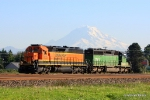 BNSF RC unit No. 7955 and a regular sister unit with Mt.Rainier serving as a backdrop