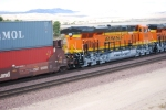 BNSF 6648 leads her sister rear DPU unit BNSF 6650 as they roll west pushing the Z CHI-LAC.