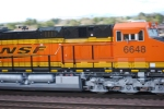 BNSF 6648 close up shot as she rolls west as the lead DPU unit.